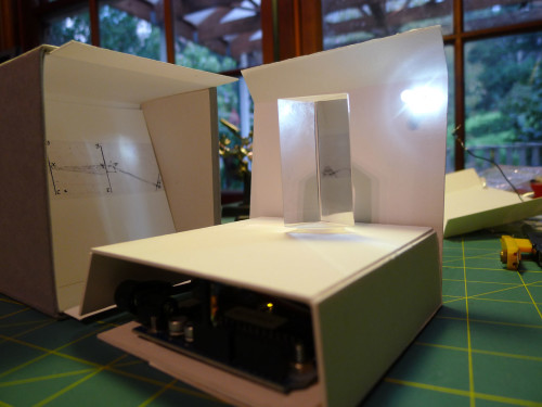 Diorama 2: board and motor installed under the prism.